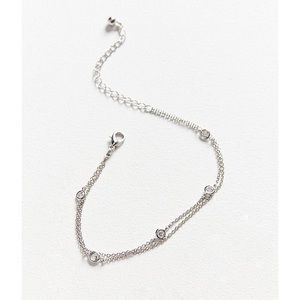 NWT Urban Outfitters Anklet Leah Crystal Silver